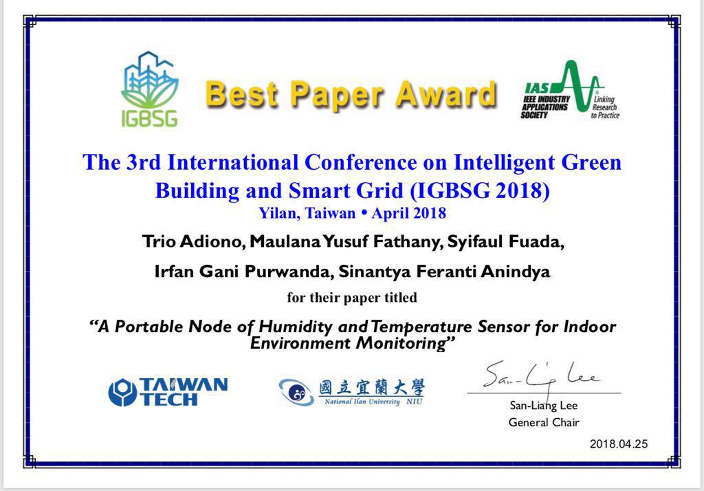 IC Design Team to Receive Best Paper Award at IGBSG 2018 Conference, Yilan, Taiwan